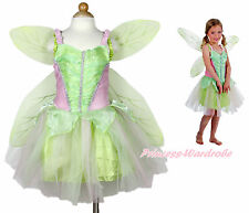 Tinker Bell Green Fairy Kids Girl Halloween Party Costume Dress Wings Set 1-10Y