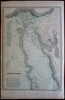 Ancient Egypt Nile Arabia Petraea 1855 Phillips large old map