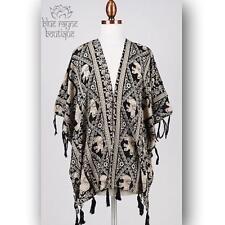 Ivory Elephant Fringed Light Open Kimono Bohemian Festival Free Spirit Cardigan