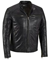 Mens Leather Jacket Black Biker Motorcycle Vintage Cafe Racer Genuine Leather