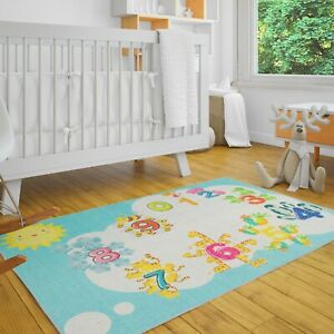 Low Pile Kids Rug for Playroom - Ultra-Thin Non-Slip Kids Area Rug - Washable