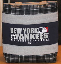 New York Yankees Baseball T-Shirt Tote Bag, Blue Plaid Handmade, Upcycled, New