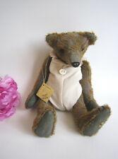 Designer OOAK mohair artist bear by Nadja Bears, Belgium.11''.Plus gift bag.