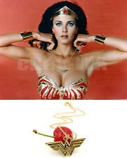 Wonder Woman Brass Pendant necklace Chain Diana Prince Lynda Carter Gold plate