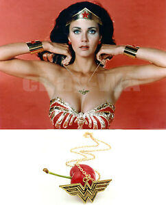 Wonder Woman Brass Pendant necklace Chain Diana Prince Lynda Carter Gold plate