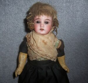 "Antique German Bisque Doll~Dutch?~Fancy Metal Hair PC~8"" Dollhouse Size~Original"