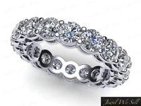 4.20Ct Round Diamond Shared Prong Gallery Eternity Wedding Ring 18k Gold F VS2