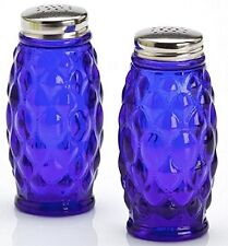 Salt & Pepper Shaker Set - Elizabeth Pattern - Mosser USA - Cobalt Blue Glass