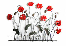 POPPIES Metal Wall Art - Suitable for Indoor and Outdoor Use 80 cm wide new
