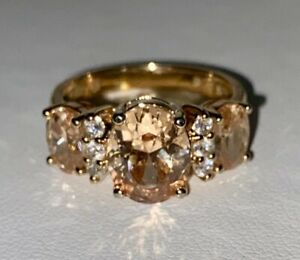 Morganite Simulant White CZ and Rose Gold Over Sterling Silver Ring Size 7.75