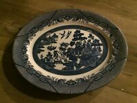 """Vintage Blue Willow Oval Platter by Churchill,  Staffordshire England 14 3/8"""""""