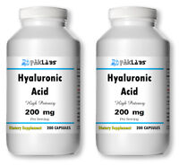 Hyaluronic Acid High Potency 200mg 400 Capsules High Quality 2x GIANT BOTTLES