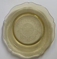 """Vintage Yellow Depression  Glass Etched 11 1/4"""" Scalloped Plate"""