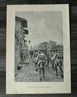 HO1) Holzschnitt 1885-1900 Raf. Sorbi - Toskanische Truppen Militaria Ort Kunst