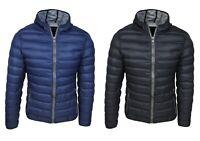 Piumino uomo casual nero blu giacca giubbotto 100 grammi slim fit con cappuccio