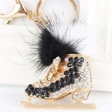 Black Roller Skates Shoe Feather Crystal Pendant Charm Purse Bag Key Chain Gift