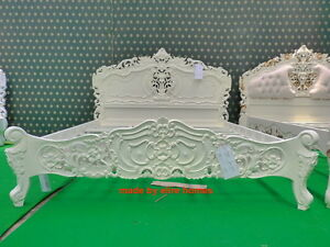 BESPOKE  King 5' Cream Ivory French style designer Rococo Bed ... Top Quality