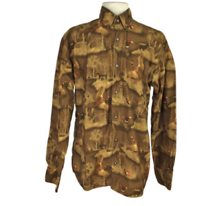 Cabelas Men M Pheasant Wilderness Hunting Button Down Shirt Regular Cotton Dogs