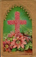 Antique Easter Postcard 'Easter Greetings' Gold Detailing Pink Flower Cross 1913