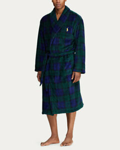 NWT Men's Polo Ralph Lauren Plush Plaid Microfiber Robe S/M, L/XL MSRP $90
