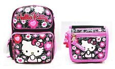 "Sanrio Hello Kitty Girls 16"" Canvas Pink & Black School Backpack with Wallet"