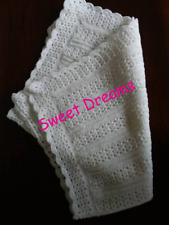 Handmade crocheted white baby blanket suitable for pram, pushchair or car