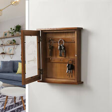 Wooden Wall Key Cupboard Cabinet Rack Holder Storage Box With 6 Hooks