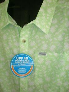 COLUMBIA PFG SUPER SLACK TIDE GREEN W/WHITE S/S CAMP SHIRT SZ:3XLT 3XT XXXLT NWT