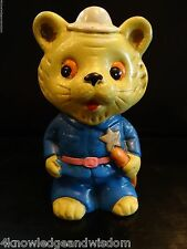 Vintage Norleans Childrens Bank Teddy Bear Police Sherriff w/ Stopper Made Japan