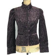 Ann Taylor Loft 0 Blazer Dark Brown Embossed Velvet Renaissance Jacket High Neck