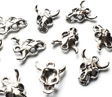 10 x 15mm Silver Plated Mini Cow Animal Skull Head Charms, Gothic Embellishment