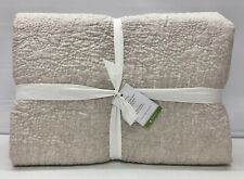 NEW Pottery Barn Belgian Flax Linen Floral Stitch KING Quilt~Natural Flax
