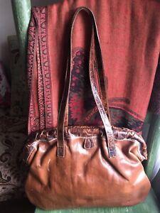 vintage furla handbag, brown leather