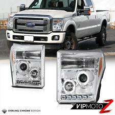 2011-2016 Ford F250 F350 F450 SuperDuty SD Chrome Projector Headlights Halo LED