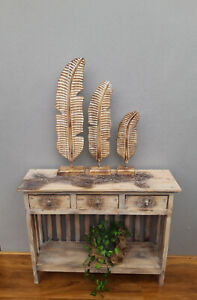 Unusual Giant Hand Carved Set of 3 Shabby chic Ornamental Wood Leaves on Stands