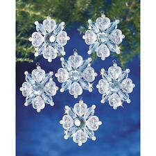 "Holiday Beaded Ornament Kit FILIGREE SNOWFLAKES Christmas Ornaments 1.75"" Set~12"
