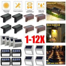 1-12X  Solar Powered LED Door Fence Deck Wall Lights Outdoor Garden Lighting