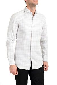"""Hugo Boss Men's """"Jason"""" Slim Fit Plaid Long Sleeve Dress Shirt Sz 15 17 17.5 18"""