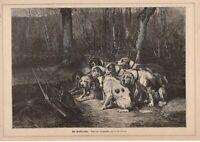 Bracken Jagdhunde Jagdmotiv schöner HOLZSTICH von 1883