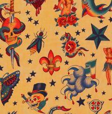 Alexander Henry Gothic Tattoo Fabric Butterfly Skulls & Hearts on Dark Tea - FQ