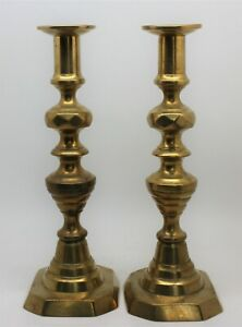 """Farmhouse Chic Pair Antique Brass Beehive Push-up Candlesticks 9 3/4"""" Tall"""