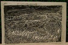 Gravure Originale Bois Gravé Hommage Van Gogh VERNER Auvers sur Oise 1957 V17