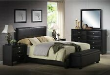 Queen Size Bed Frame Upholstered Faux Leather With Headboard Black Color Set
