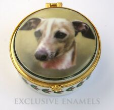 More details for alastor enamels whippet dog round hinged china trinket box