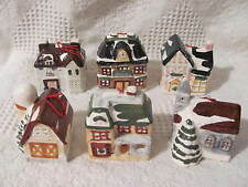 """Christmas Ceramic Village Houses Light Covers Ornaments, set of 6, 2-1/2"""" to 3"""""""
