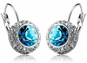 Light Blue Crystal Round Stone Ladies Earrings Women Silver Hoops Leverback