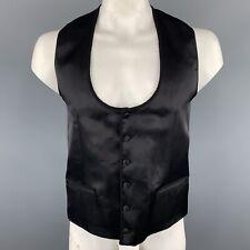 DOLCE & GABBANA SZ 42 Black Silk / Wool Trim Round Collar Covered Buttons Vest