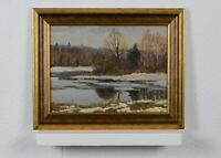 Spring landscape, early spring on the river, oil painting, vintage painting