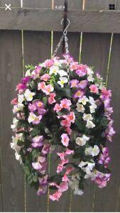 Beautiful Artificial  Ivory/pink/ Lilac Trailing Hanging Basket