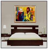 NICOLA SIMBARI Original OIL PAINTING On CANVAS Female Portrait Signed Art LARGE